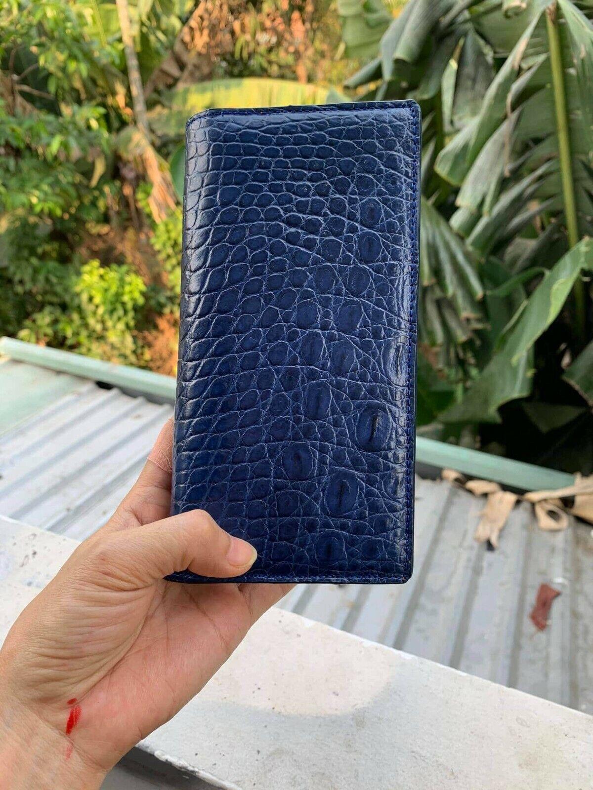 doubleside Crocodile Alligator Belly Leather Zipper Clutch Long Wallet