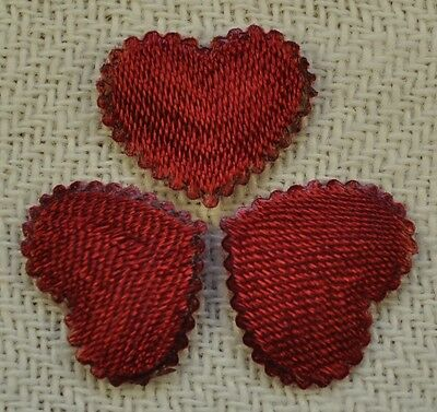 48 BURGUNDY CLAM EDGE SATIN 1.3cm Padded Hearts for wedding crafts card PH1.5RS