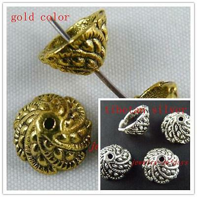 60pcs Tibetan Silver/Gold Color Flower Bead Caps 11x6mm 535