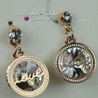 18ct Rose Gold Plated love Dangle Stud Earrings W/swaroski Elements Crystals