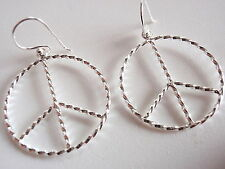 Peace Symbol Rope Style Accents Earrings 925 Sterling Silver Corona Sun Jewelry