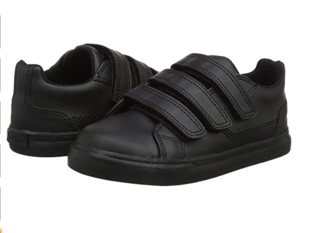New Boys Kickers Tovni Trip Leather Shoes School Shoes Black