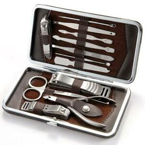 Manicure-Pedicure-Nail-Care-Set-12-Piece-Cutter-Cuticle-Clippers-Kit-Gift-Case