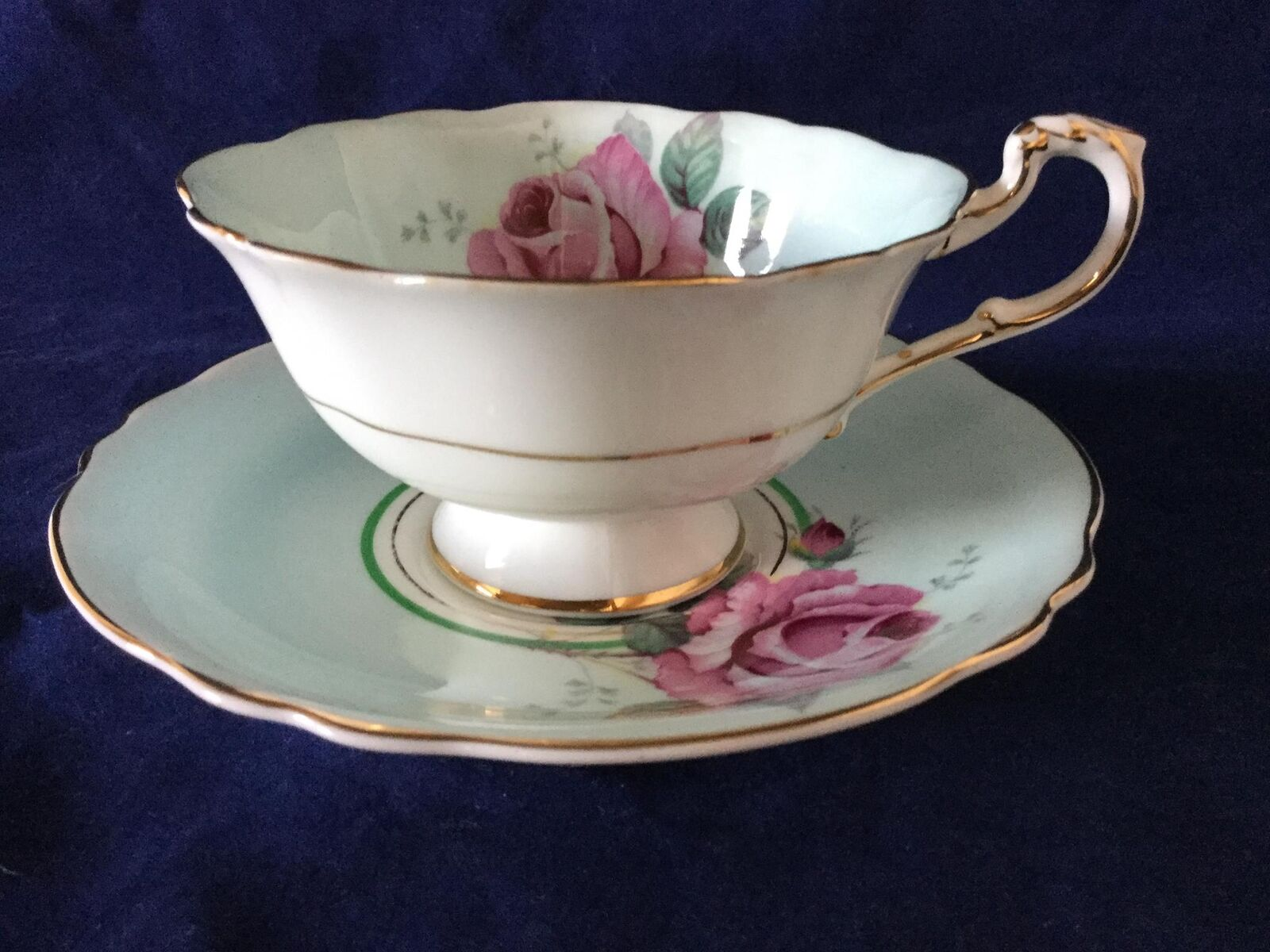 Vintage Paragon White Light bluee with Pink pinks Tea Cup & Saucer - FREE SHIP