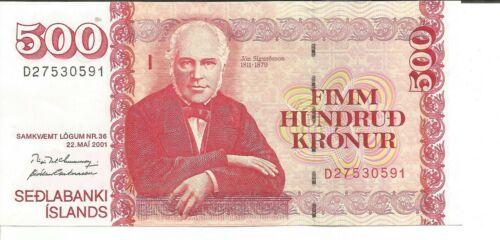 4RW 15 SET ICELAND 500 KRONUR 2001  P 58 UNC CONDITION