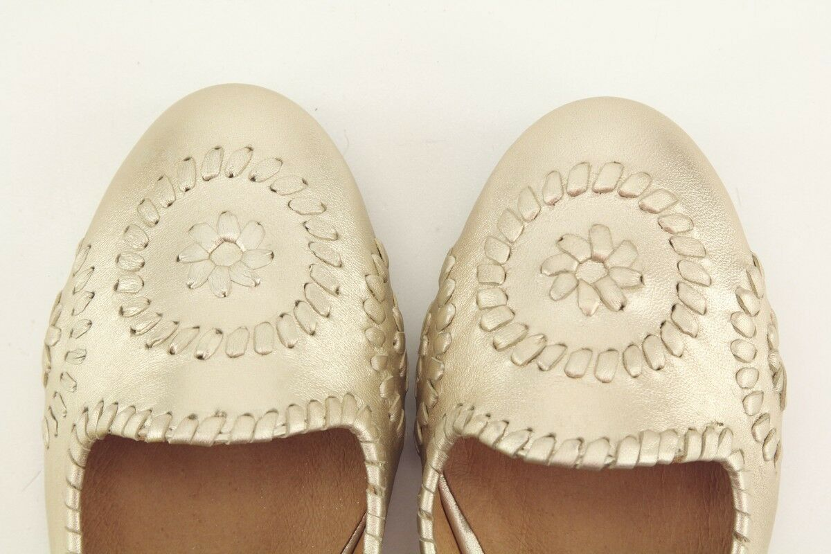 NEW Jack Rogers Waverly Waverly Rogers Platinum Leather Ballet Flats size 7.5 Shoes 053700