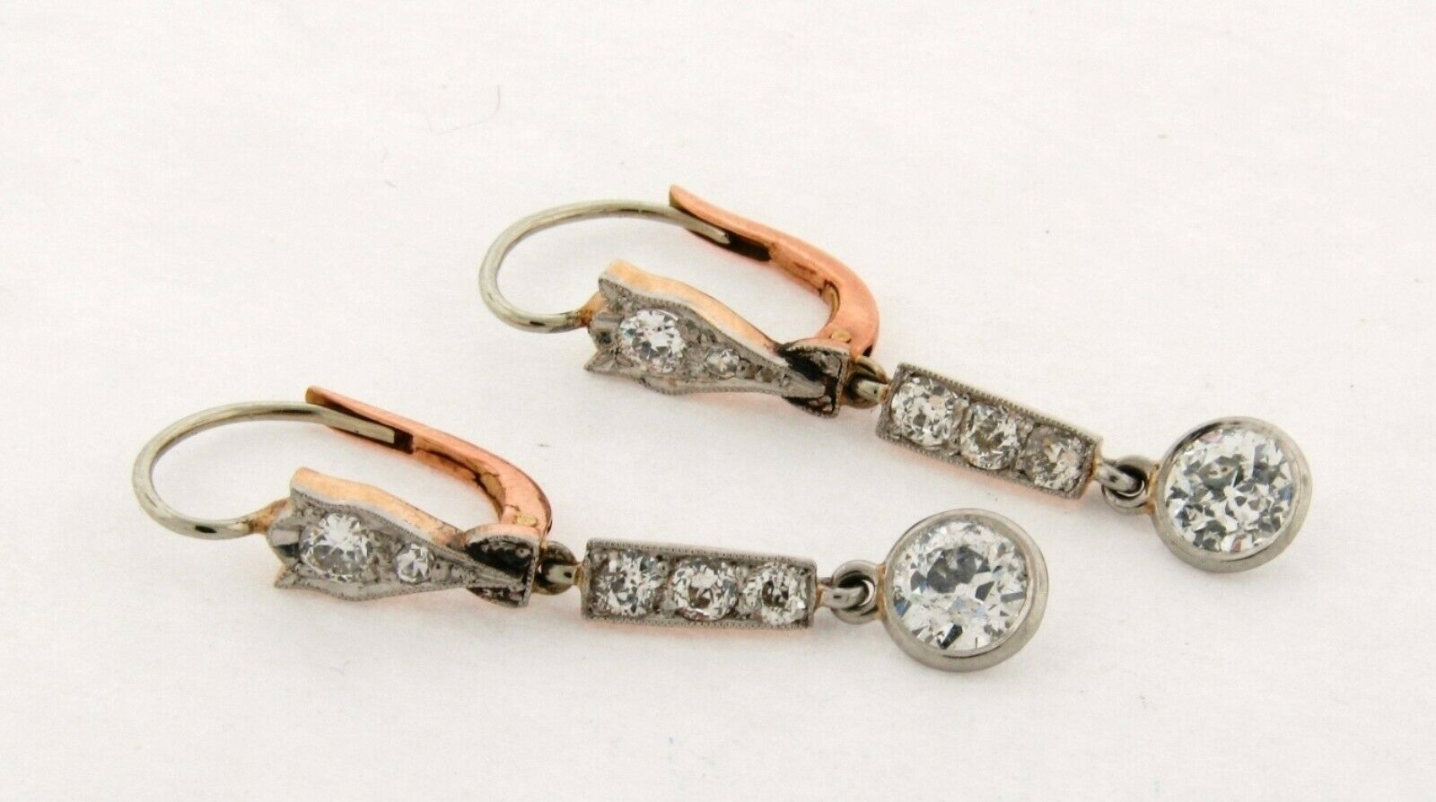 Original Art Deco 2.30 Carat Old Mine Cut Diamonds Platinum 18K Drop Earrings
