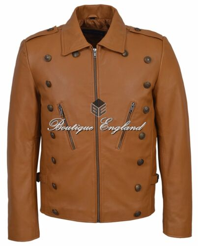 Fashion 9650 Series Mens Tan Jacket Studed Leather Rockstar 100 qp1CY