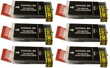 6x Tintenpatrone schwarz kompatibel zu Canon (PGI-555BK XXL) mit CHIP MX925