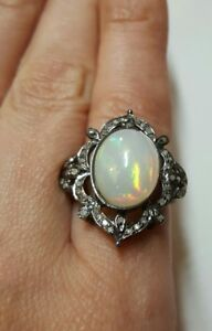 925-silver-Diamond-6ct-Ethiopian-fire-Opal-cabochon-flower-ring-size-7