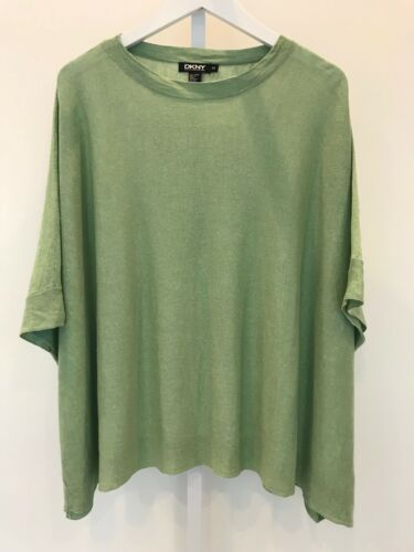 DKNY SAGE GREEN LINEN PONCHO SWEATER SIZE PETITE S