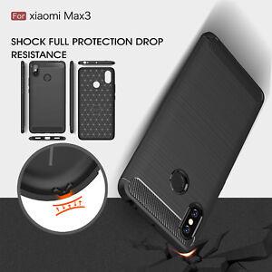 Pour-Xiaomi-mi-Max-3-Antichoc-Hybride-Fibre-de-Carbone-Brosse-Housse-Caoutchouc