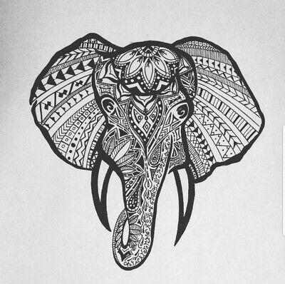 ART PRINT PAINTING DRAWING ORNATE EASTERN INDIAN ELEPHANT PATTERN LFMP1088