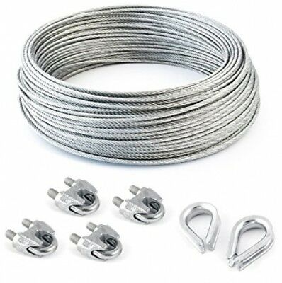 many sizes avaliable 4 clips 2 thimbles SET 5m steel wire rope galvanised 6mm strand: 6x7