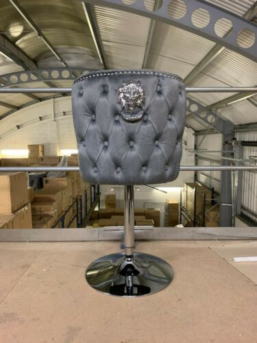 Oxford Luxury Dark Grey Velvet Gaslift Swivel Barstool Button Back Lion Knocker