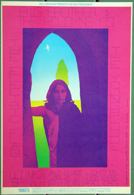 BG104 Big Brother & The Holding Co Electric Flag 1968 Fillmore Concert Poster