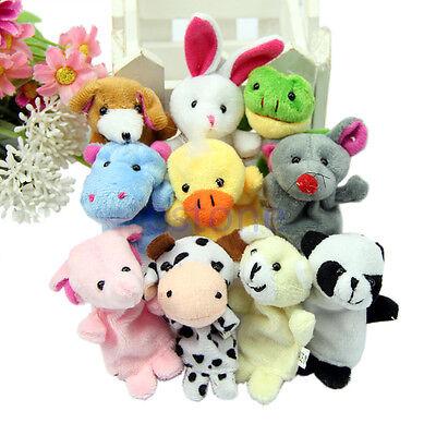 10PCS New Fashion Velvet Finger Animal Puppet Play Learn Story Toy Hot