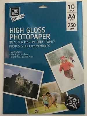 A4 High Gloss Photopaper Pack of 10 230 GSM Quick Dry Bright White Coated Paper