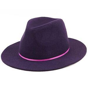 Details about Wool Fedora Hat Hawkins Womens Ladies Brim Black Purple Brown  Cap 978a690adbb