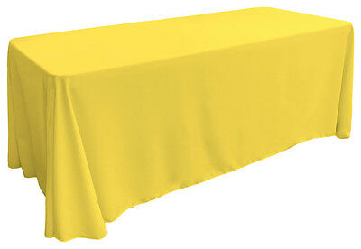 "90"" x 132"" Yellow Rectangular Polyester Tablecloth for 6 ft table Catering"