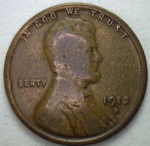 1912 S Lincoln Wheat Cent 1c Very Good