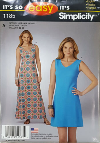 SMPLCITY PATTERN KNIT DRESS IN 2 LENGTHS VERY EASY MISSES/' SIZE 10-22 # 1185