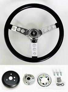 1970-77-Mustang-Grant-Black-Steering-Wheel-13-1-2-034-with-Mounting-Horn-Kit-amp-cap