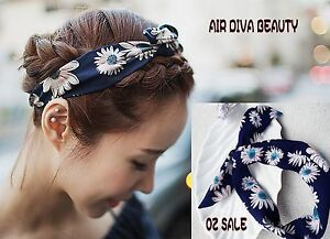 Women-Navy-BOHO-flower-Daisy-Beach-Party-retro-wire-bow-head-hair-band-Headband