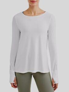 N-Y-L-Sport-Women-039-s-Active-Crewneck-Tie-Back-Long-Sleeve-T-Shirt-White-Large