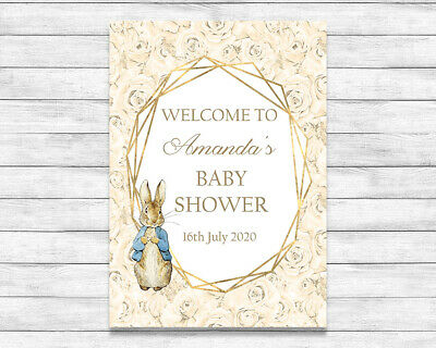 Peter Rabbit A3 Personalised Baby Shower Sign Cream Rose Gender Reveal Party