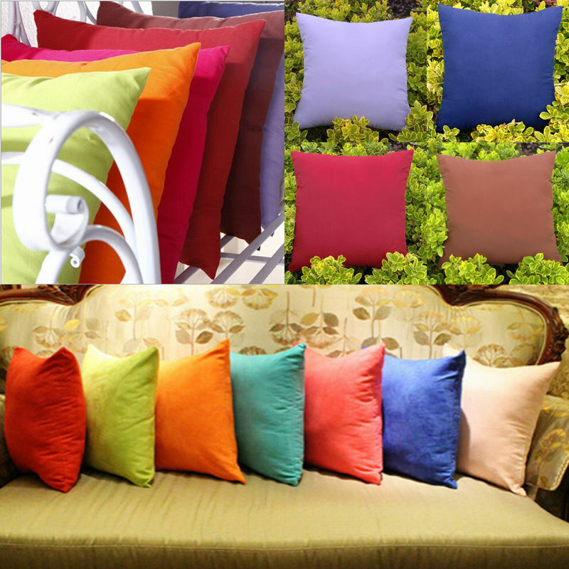 Blank Plain Square Throw Pillow Case Sofa Waist Cushion Cover Home Decor-WI