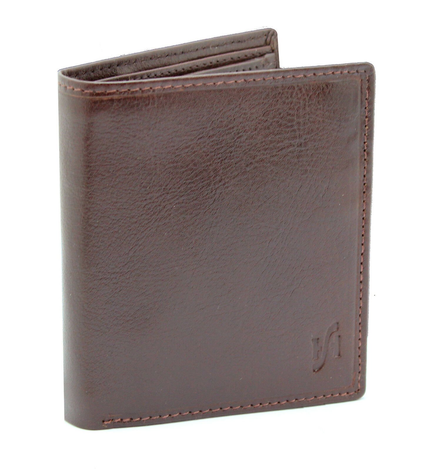 Mens RFID Blocking Small VT Leather Wallet Brown