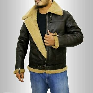 Details about Men's New RAF B3 Real Ginger Shearling Sheepskin Real Leather Flying Jacket