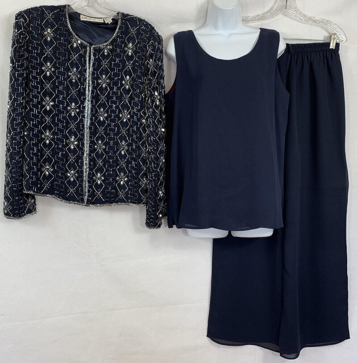 VTG Scala 3 Pc Evening Outfit Silk Bead Sequin Jacket Sleeveless Top Pants Sz L
