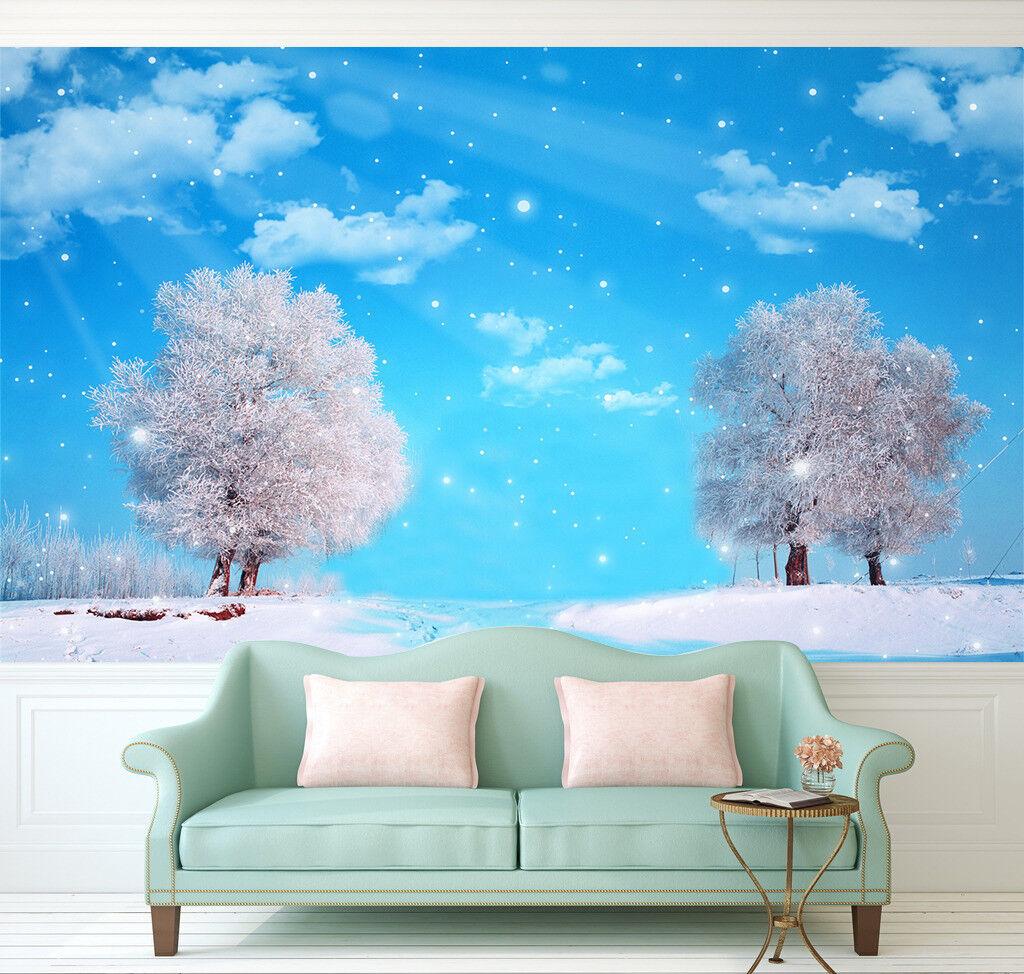 3D Stars Snow Tree 75 Wall Paper Murals Wall Print Wall Wallpaper Mural AU Kyra