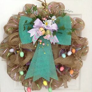 Gorgeous Floral Easter Egg Garland Deco Mesh Wreath Ebay
