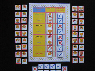 EMOTIONS FEELINGS AT SCHOOL DAY CHART - Autism, Aspergers ...