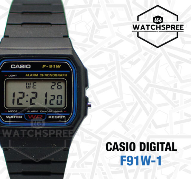 6dd280206 Casio F-91W-1D Resin Strap Watch - Black for sale online | eBay