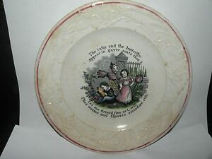 ANTIQUE-STAFFORDSHIRE-MEAKIN-ABC-CHILD-039-S-PLATE-tulip-and-the-butterfly