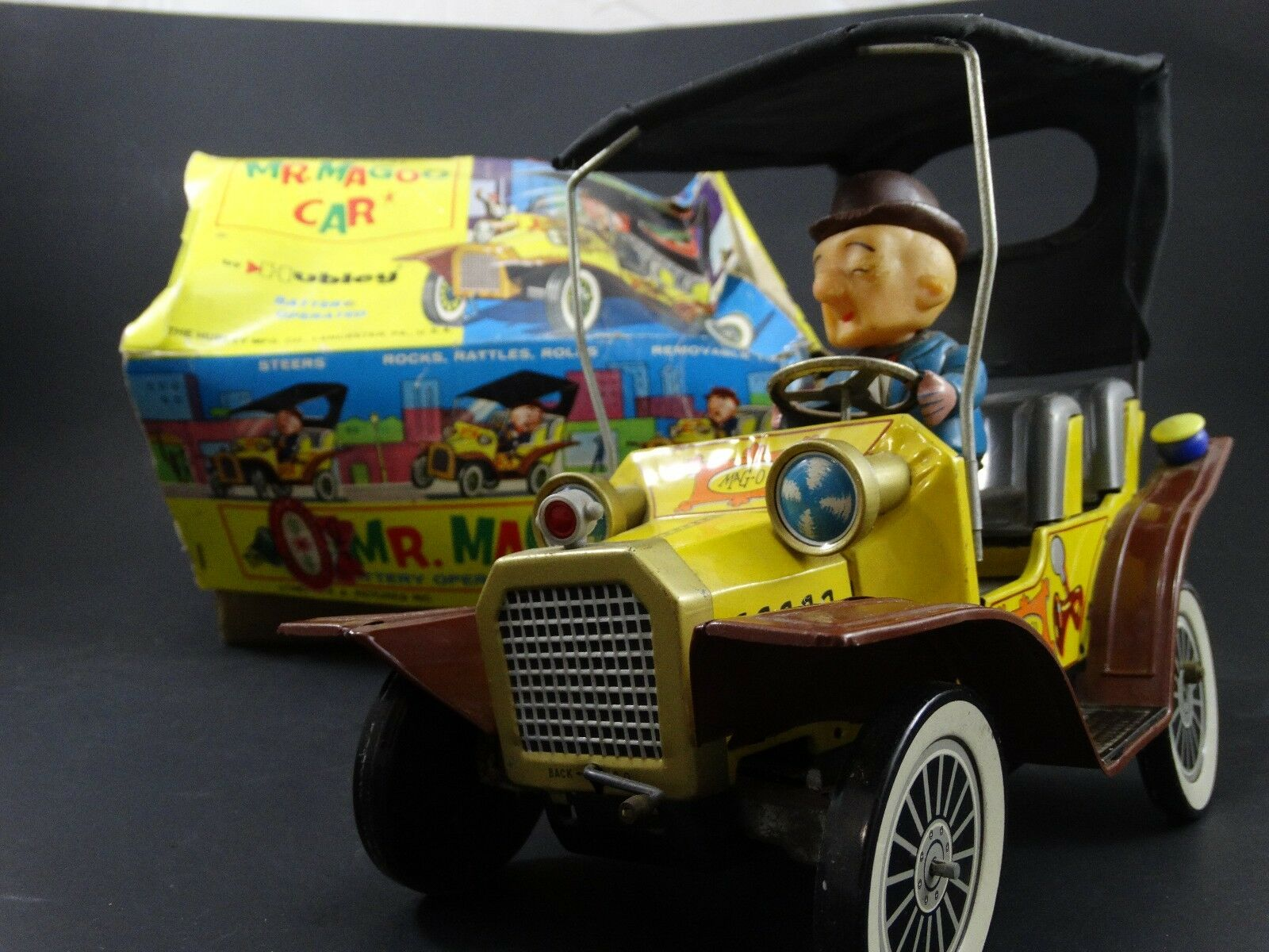2 Vintage 1961 Hubley Mr Mr Mr Magoo Japan Tin Litho Battery Friction Car Toy Box Lot b4d6d5