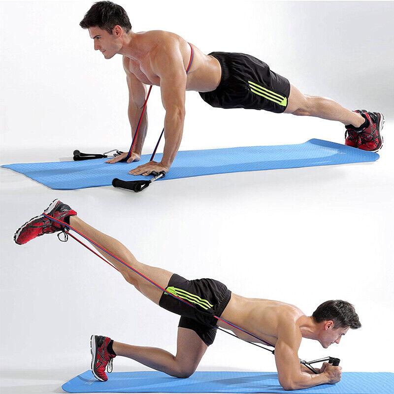 11 PCS Resistance Band Set Yoga Pilates Abs Exercise Fitness Tube Workout Bands 10