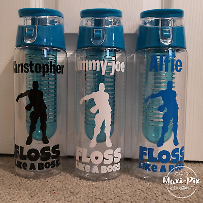 Personalised Floss Boys /& Name Vinyl Water Bottle Gym Sticker Back to School