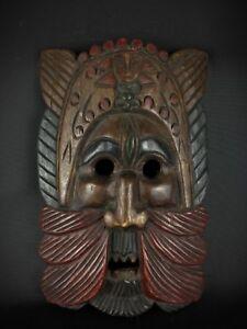 Ancien-vintage-masque-africain-sculpture-main-sur-bois-massif-polychrome