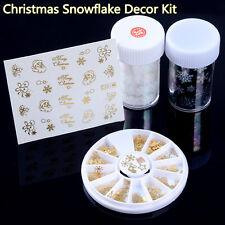 Weihnachten Thema Nagel Design Holo Folie Nageltattoo Sticker Metallic Dekor