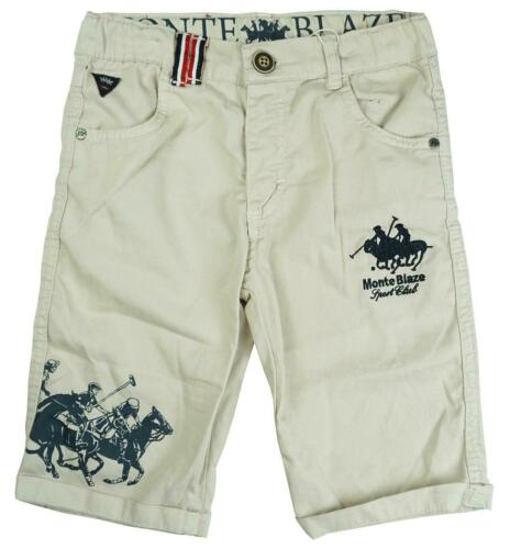 Boys Polo Horse Summer Short Turn Up Cotton Knee Length Shorts 8 to 14 Years