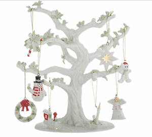 Lenox-10-5-034-Porcelain-Tree-with-8-Holiday-Mini-Ornaments-and-24K-Gold-Accents