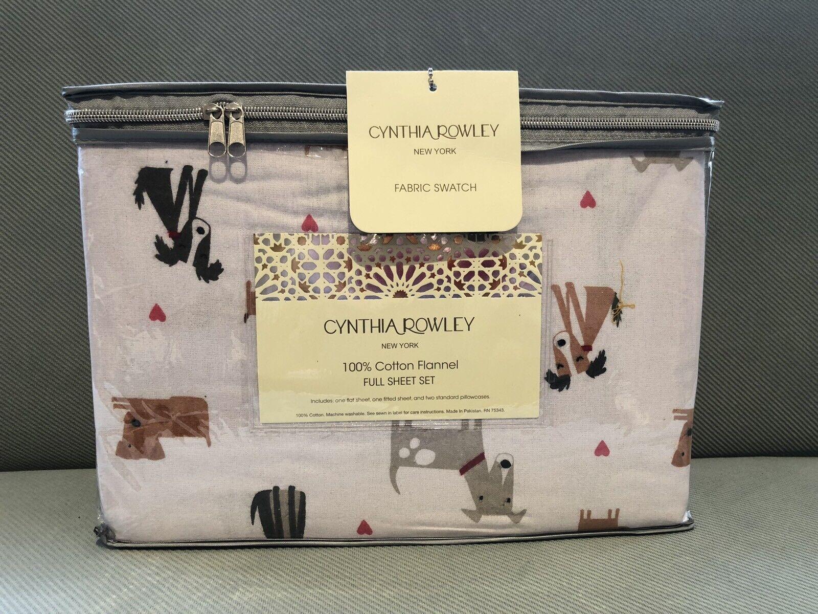4pc Cynthia Rowley Flannel KING Sheet Set Gray Graphite Woodland Deer Holiday