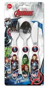 Aimable Avengers Gallery 3 Pièces Métal Set De Couverts Pour Enfants-couteau, Fourchette Et Cuillère-afficher Le Titre D'origine Avec Une RéPutation De Longue Date