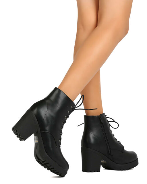 New Women Refresh Club-02 Leatherette Lace Up Chunky Heel Combat Bootie