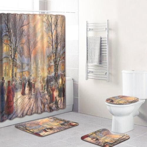 Joyeux Noël Arbre Salle de Bains Rideau De Douche Toilette Housse De Siège Tapis Tapis de bain Set